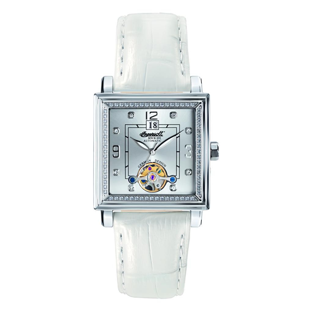 627-275 - Ingersoll Women's Astoria Automatic Crystal Accented Square Leather Strap Watch
