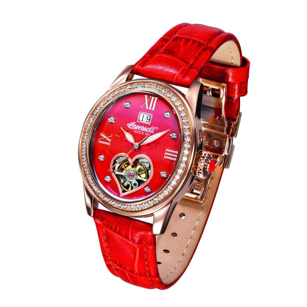 627-276 - Ingersoll Women's Punca Automatic Crystal Accented Heart Shaped Open Heart Leather Strap Watch