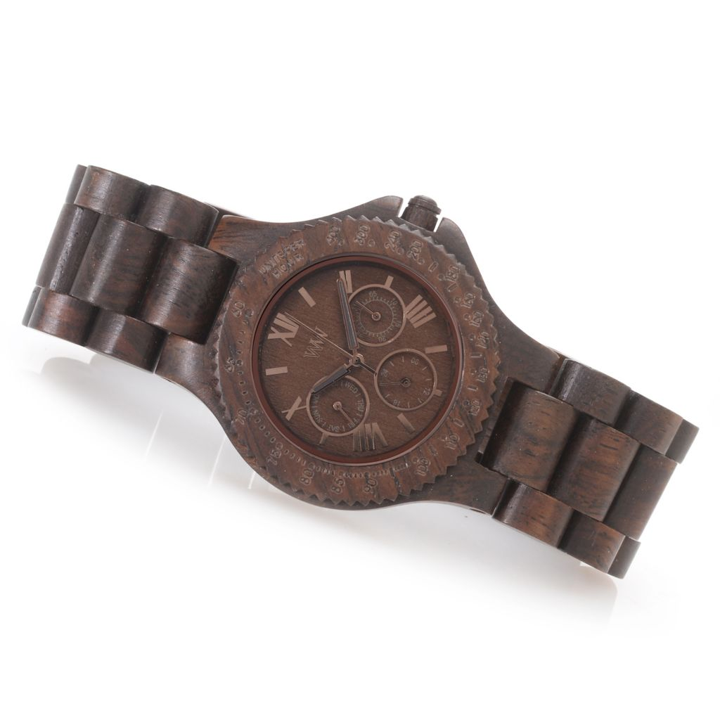 "627-300 - WeWOOD 42mm ""Sitah"" Quartz Multi Function Wooden Bracelet Watch"