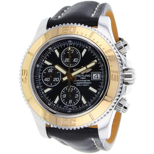627-324 - Breitling 41mm Superocean Swiss Made Automatic Chronograph Leather Strap Watch