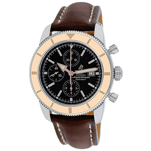 627-326 - Breitling 46mm Superocean Heritage Swiss Made Automatic Chronograph Leather Strap Watch