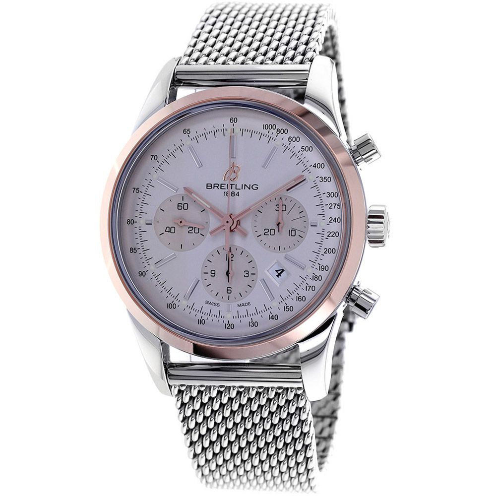 627-328 - Breitling 43mm Transocean 18K Swiss Made Automatic Chronograph Stainless Bracelet Watch