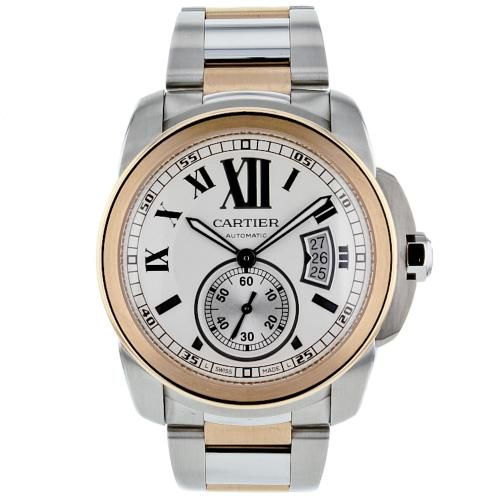 627-330 - Cartier 42mm Calibre De Cartier Swiss Automatic 18K Rose Gold & Stainless Steel Bracelet Watch
