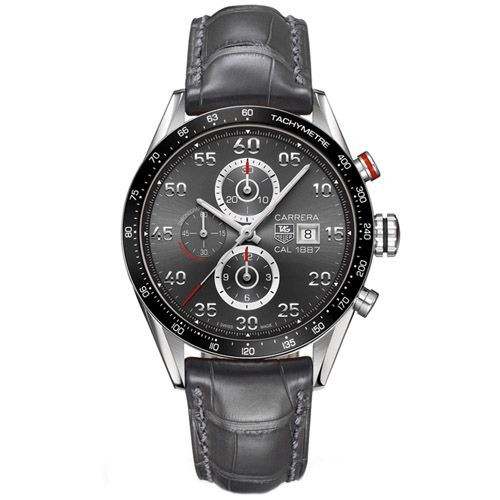 627-333 - Tag Heuer 43mm Carrera Calibre 1887 Swiss Automatic Chronograph Alligator Strap Watch