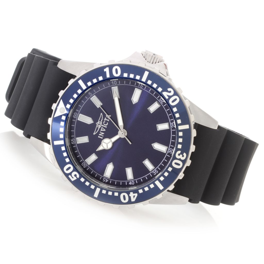 627-345 - Invicta 44mm Pro Diver Quartz Stainless Steel Silicone Strap Watch w/ One-Slot Dive Case