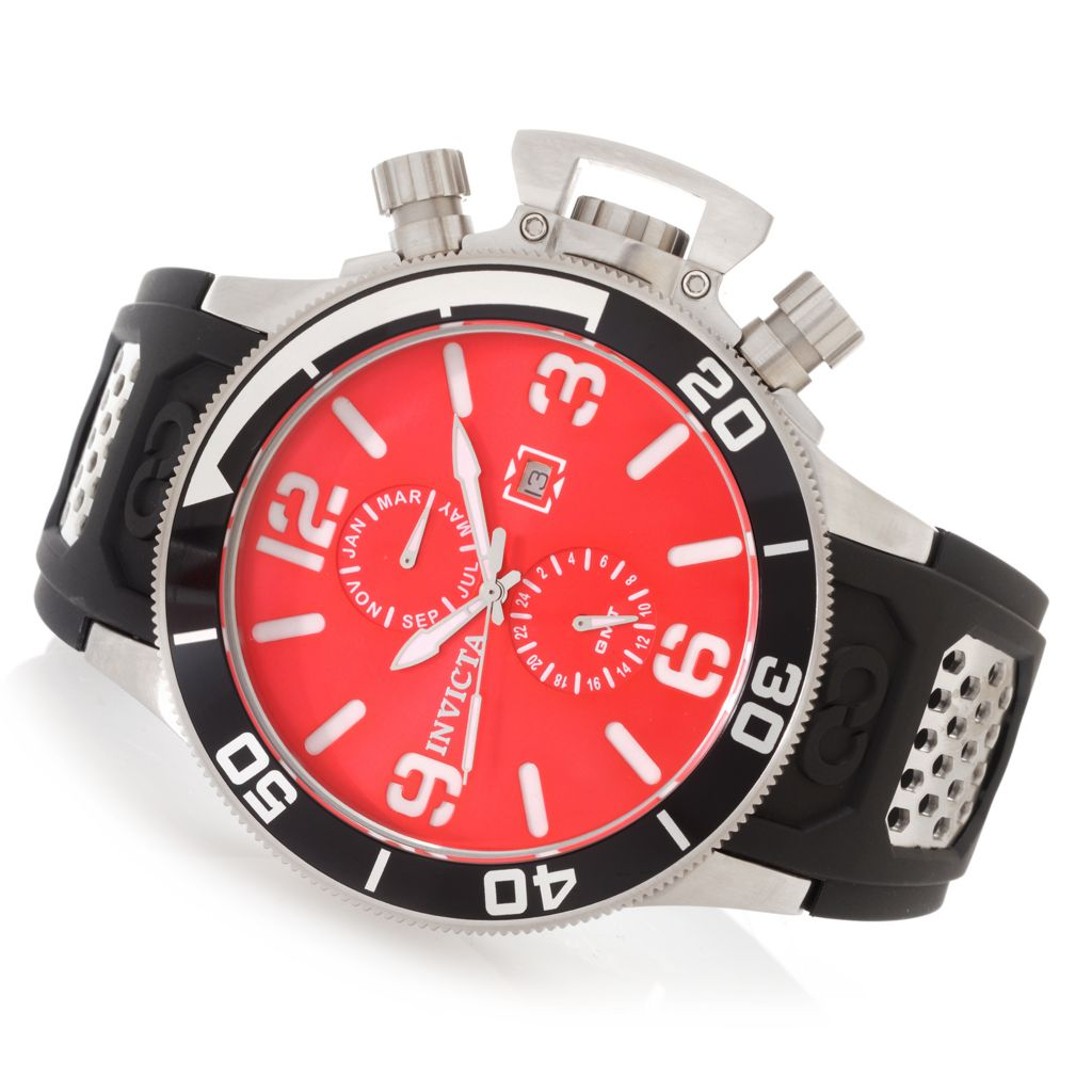 627-347 - Invicta 53mm Corduba Quartz GMT Multi Function Stainless Steel Polyurethane Strap Watch