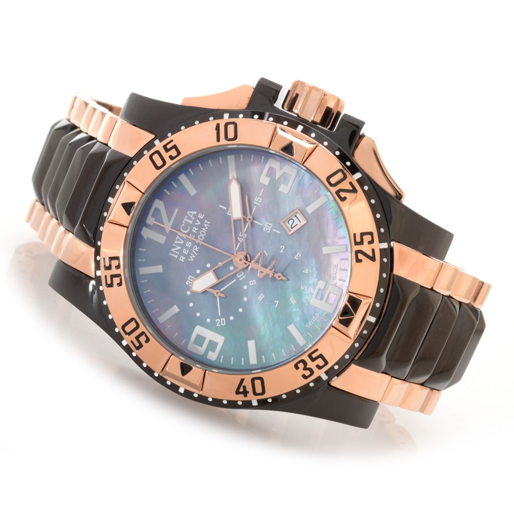 627-361 - Invicta Reserve 50mm Excursion Swiss Chronograph Bracelet Watch w/ One-Slot Dive Case