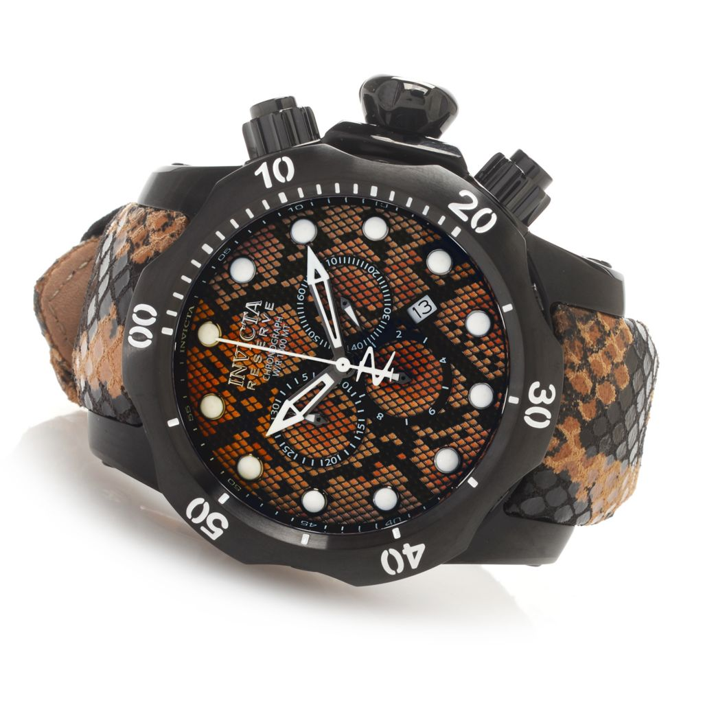 627-366 - Invicta Reserve 42mm or 52mm Venom Swiss Made Quartz Chronograph Leather Strap Watch