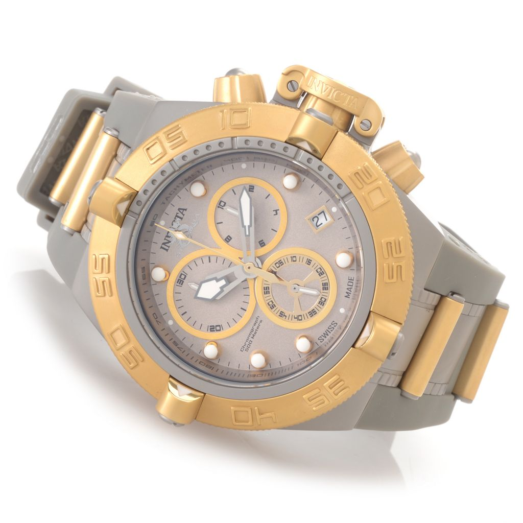 "627-368 - Invicta 50mm Subaqua Noma IV Swiss Made ""Shark Edition"" Strap Watch w/ Eight-Slot Dive Case"