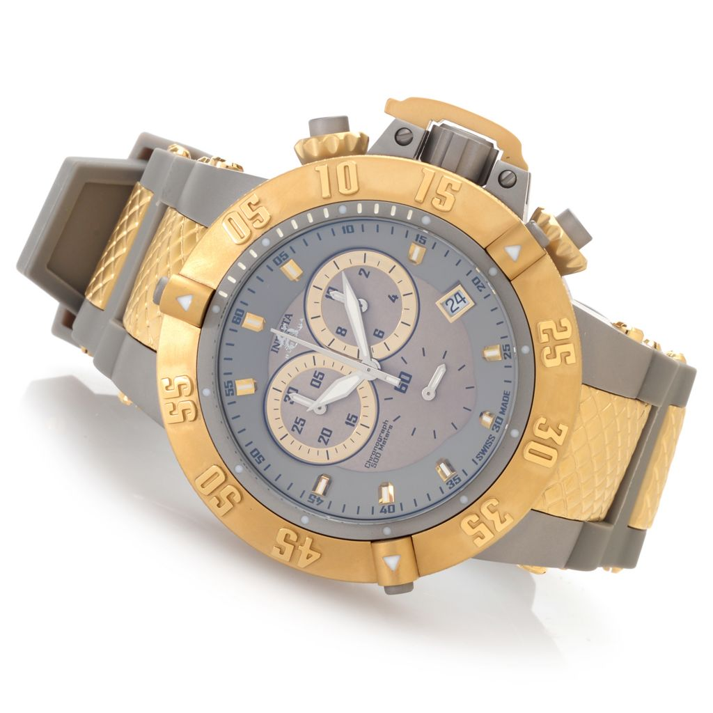 "627-370 - Invicta 50mm Subaqua Noma III ""Shark Edition"" Swiss Made Silicone Strap Watch w/ 8-Slot Dive Case"