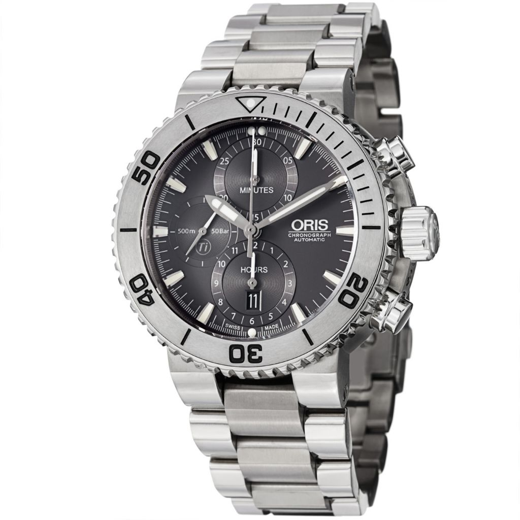 627-391 - Oris 46mm Aquis Titan Swiss Automatic Chronograph Titanium Bracelet Watch