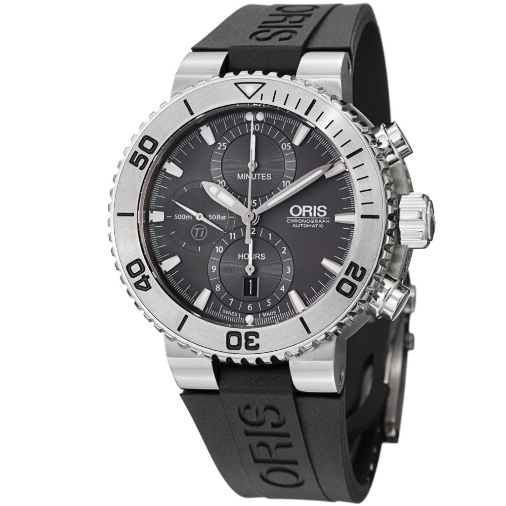 627-392 - Oris 46mm Aquis Titan Swiss Automatic Chronograph Rubber Strap Watch