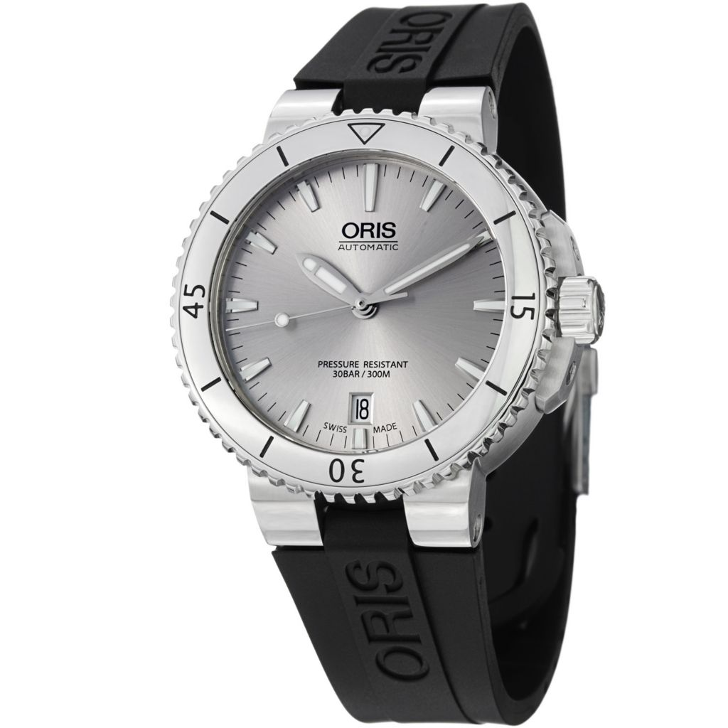627-398 - Oris 39mm Aquis Swiss Automatic Date Rubber Strap Watch