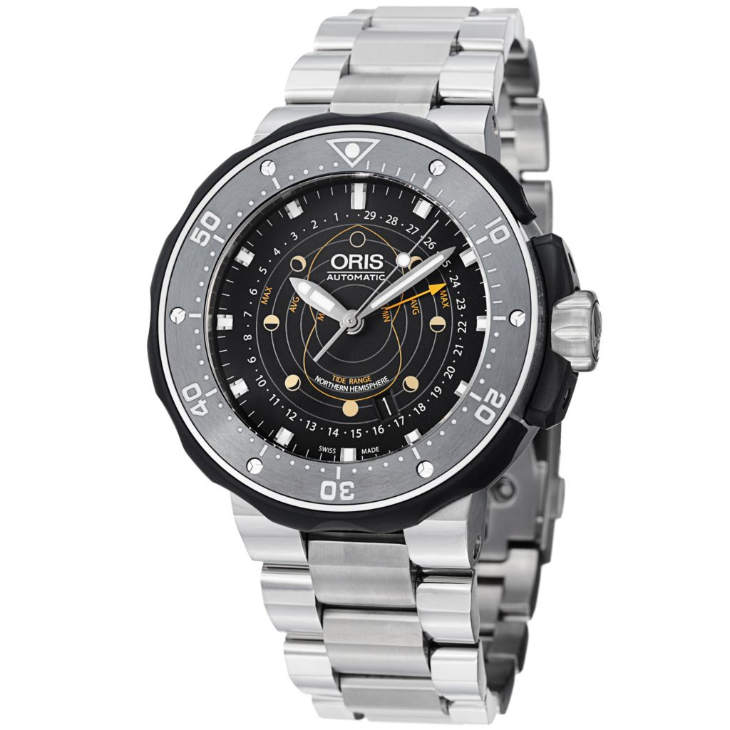 627-414 - Oris 49mm ProDiver Pointer Moon Swiss Automatic Titanium Bracelet Watch