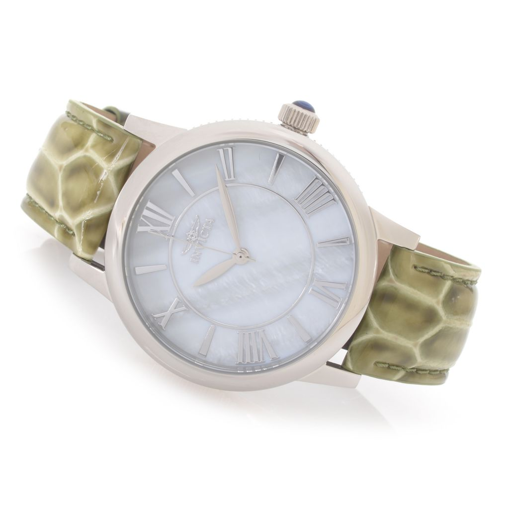 627-437 - Invicta Women's Angel Quartz Mother-of-Pearl Dial Stainless Steel Leather Strap Watch