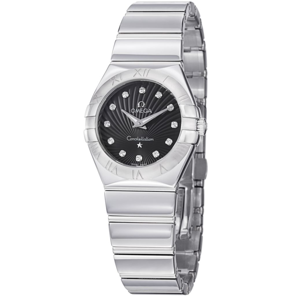 627-442 - Omega Women's Constellation Swiss Quartz Diamond Accent Stainless Steel Bracelet Watch