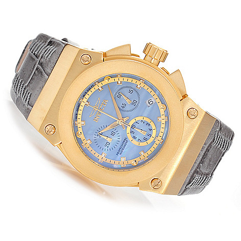 627-456 - Invicta Women's Akula Quartz Chronograph Mother-of-Pearl Leather Strap Watch