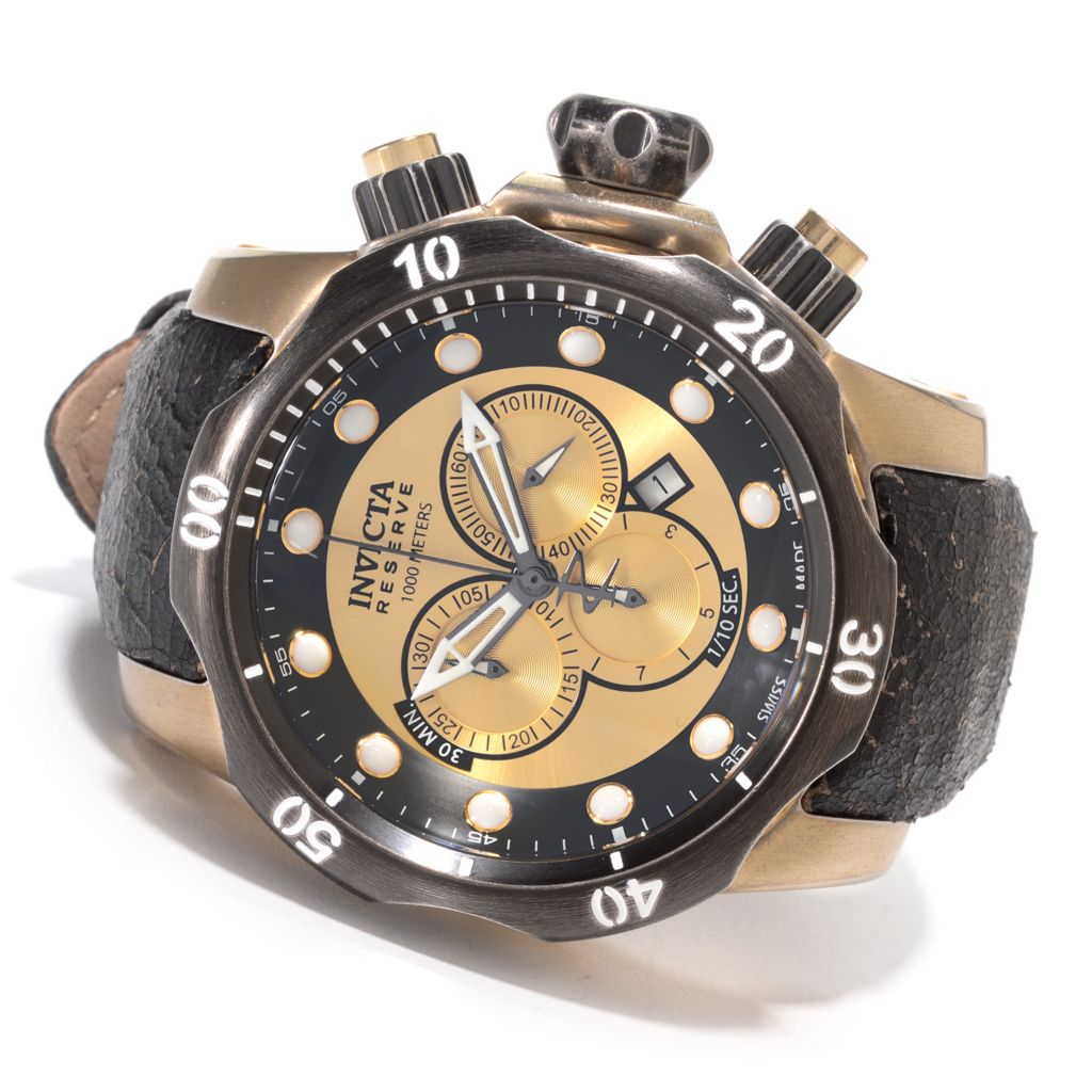 627-457 - Invicta Reserve 52mm Venom Swiss Chronograph Stainless Steel Leather Strap Watch