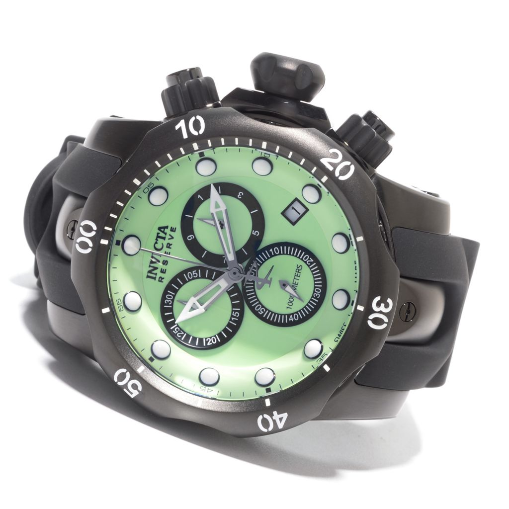 627-463 - Invicta Reserve 52mm Venom Lume Swiss Made Quartz Chronograph Polyurethane Strap Watch