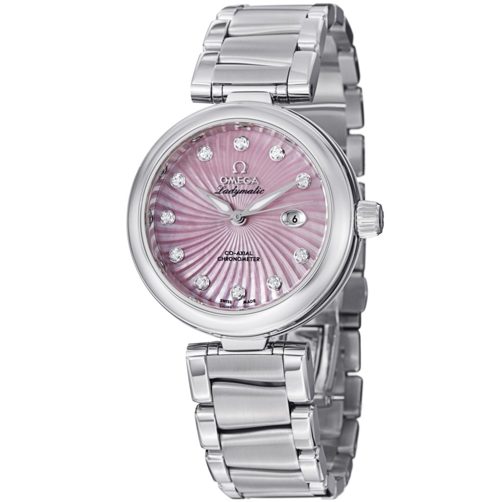627-470 - Omega Women's De Ville Ladymatic COSC Swiss Automatic Mother-of-Pearl Diamond Accent Bracelet Watch