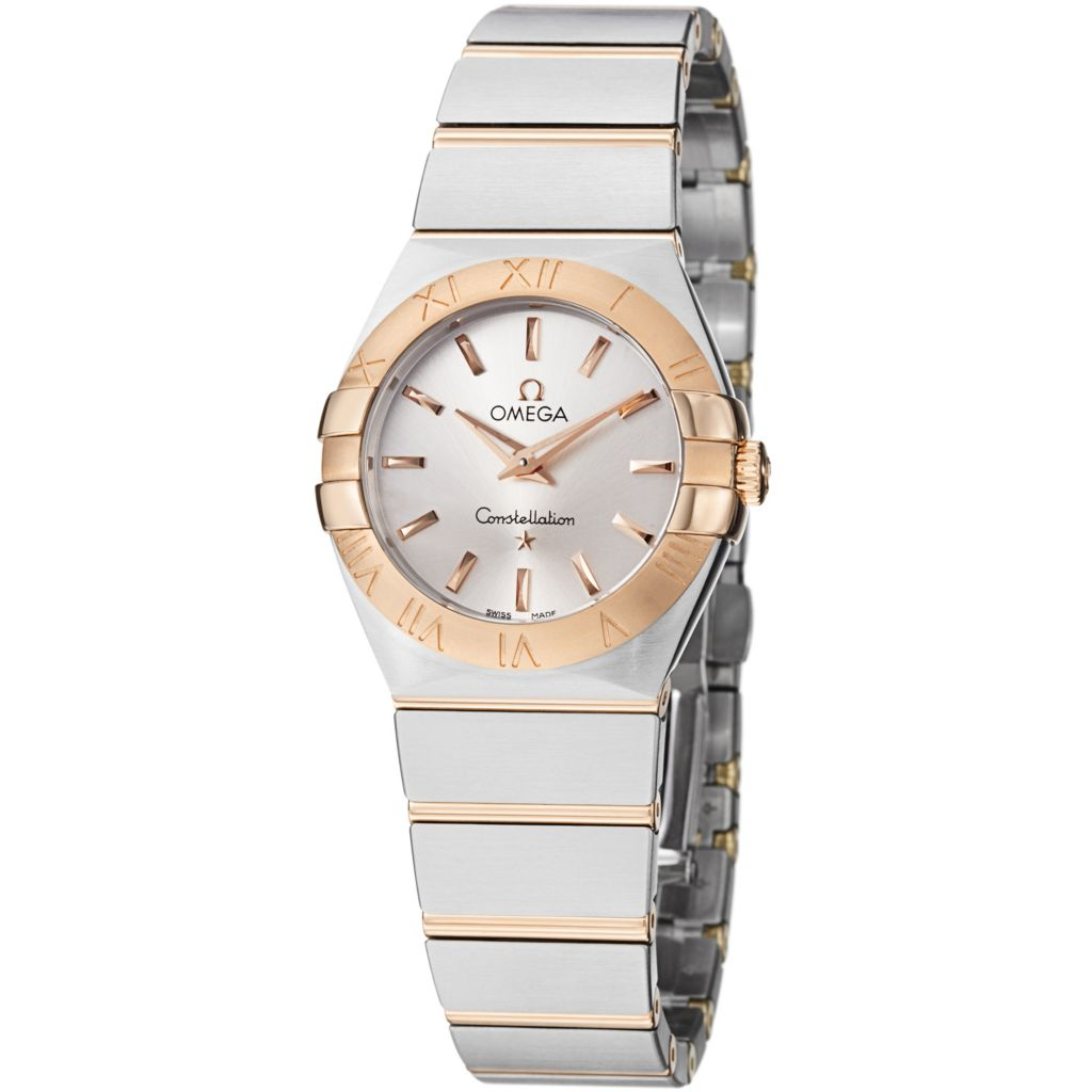 627-472 - Omega Women's Constellation Swiss Quartz 18K Rose Gold & Stainless Steel Bracelet Watch