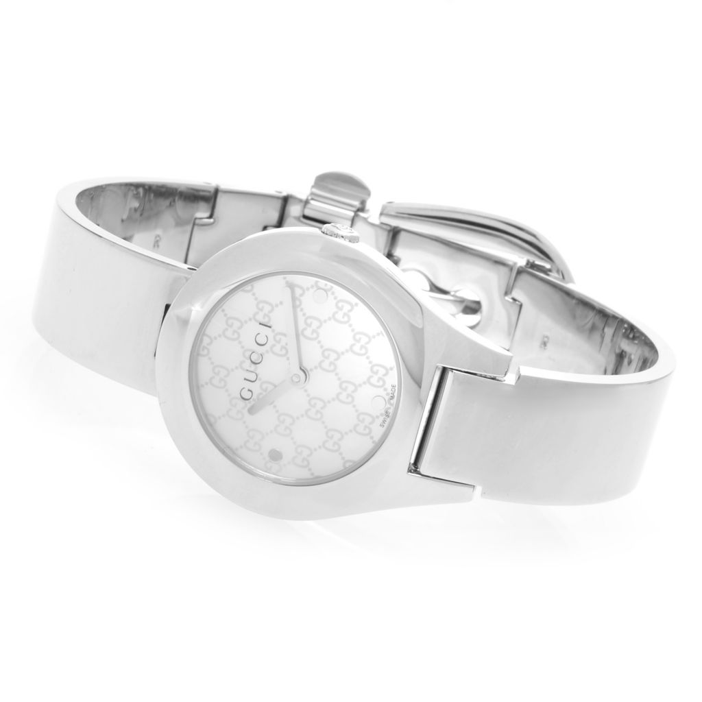 627-481 - Gucci Women's 6700 Swiss Quartz Hologram Dial Bangle Bracelet Watch
