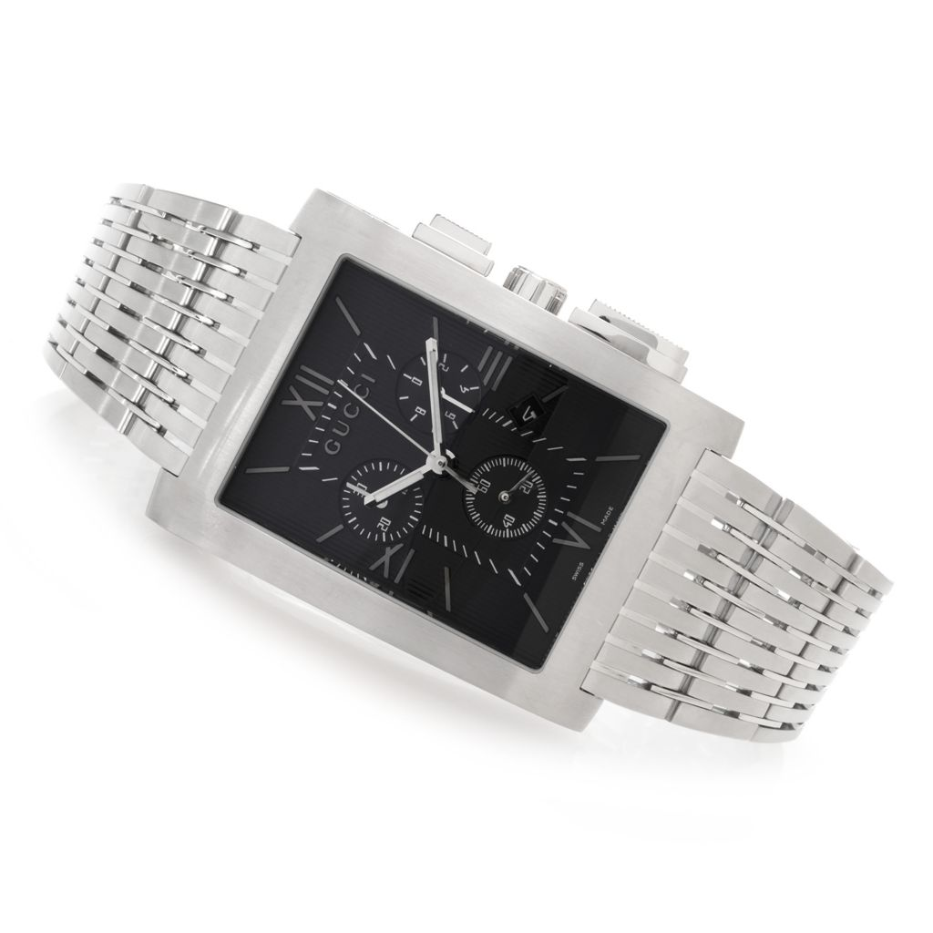 627-482 - Gucci Rectangle G Metro Swiss Made Quartz Chronograph Stainless Steel Bracelet Watch