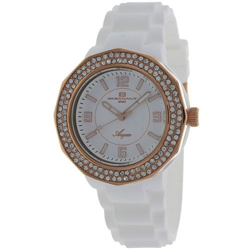 627-516 - Oceanaut Women's Acqua Quartz Crystal Accented Rose-tone Stainless Steel Rubber Strap Watch