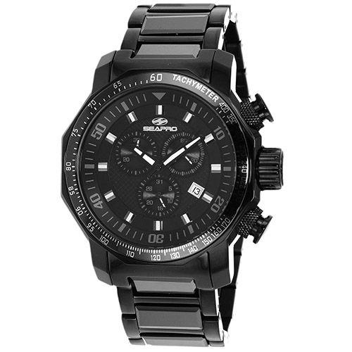 627-533 - Seapro 46mm Coral Quartz Chronograph Ceramic & Stainless Steel Bracelet Watch