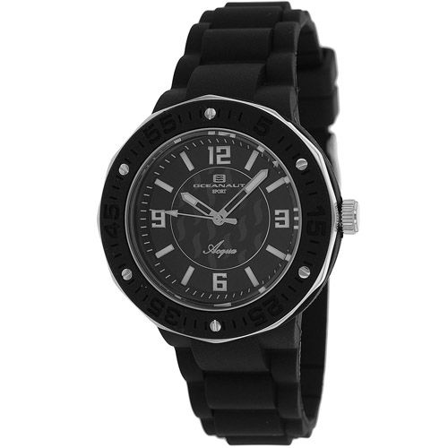 627-538 - Oceanaut Women's Acqua Quartz Black Rubber Strap Watch