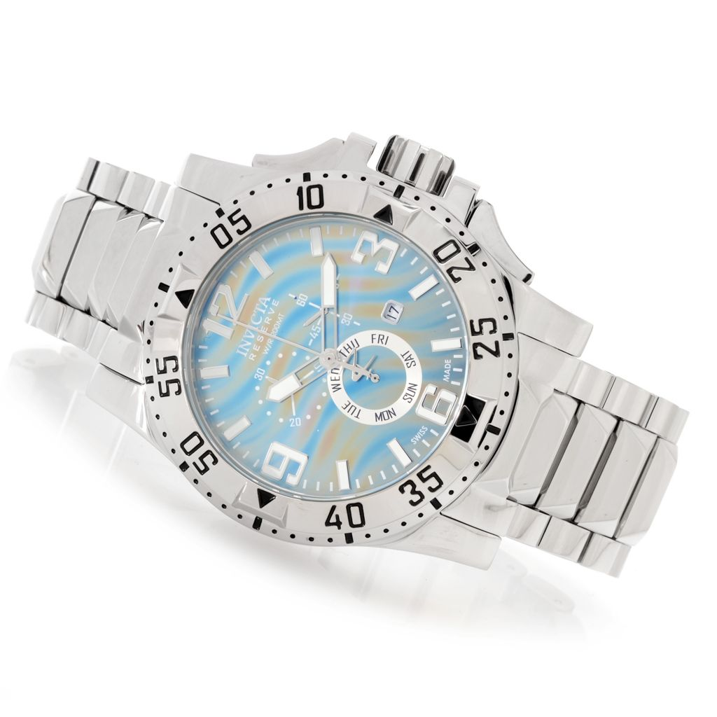 627-542 - Invicta Reserve 50mm Excursion Swiss Chronograph Stainless Steel Bracelet Watch w/ 1-Slot Dive Case