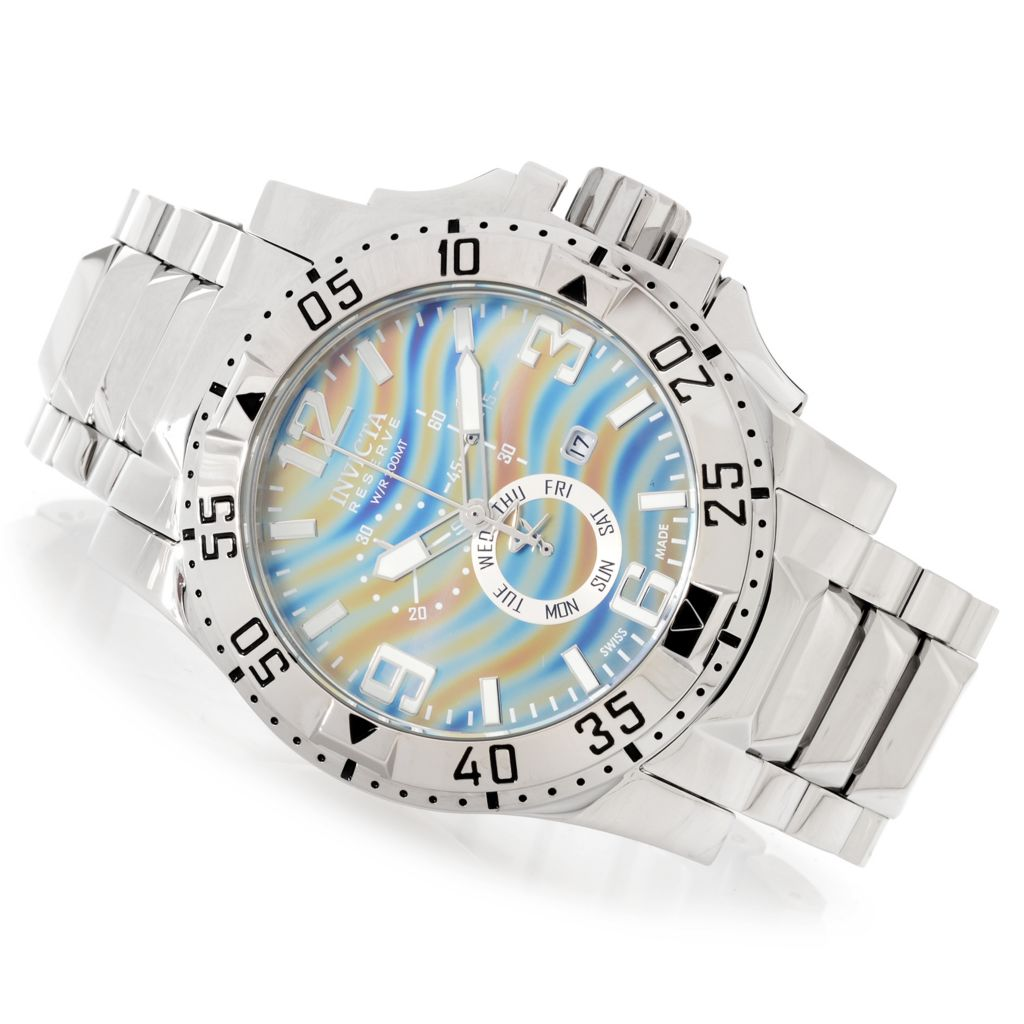 627-544 - Invicta Reserve 50mm Excursion Swiss Chronograph Stainless Steel Bracelet Watch w/ 1-Slot Dive Case