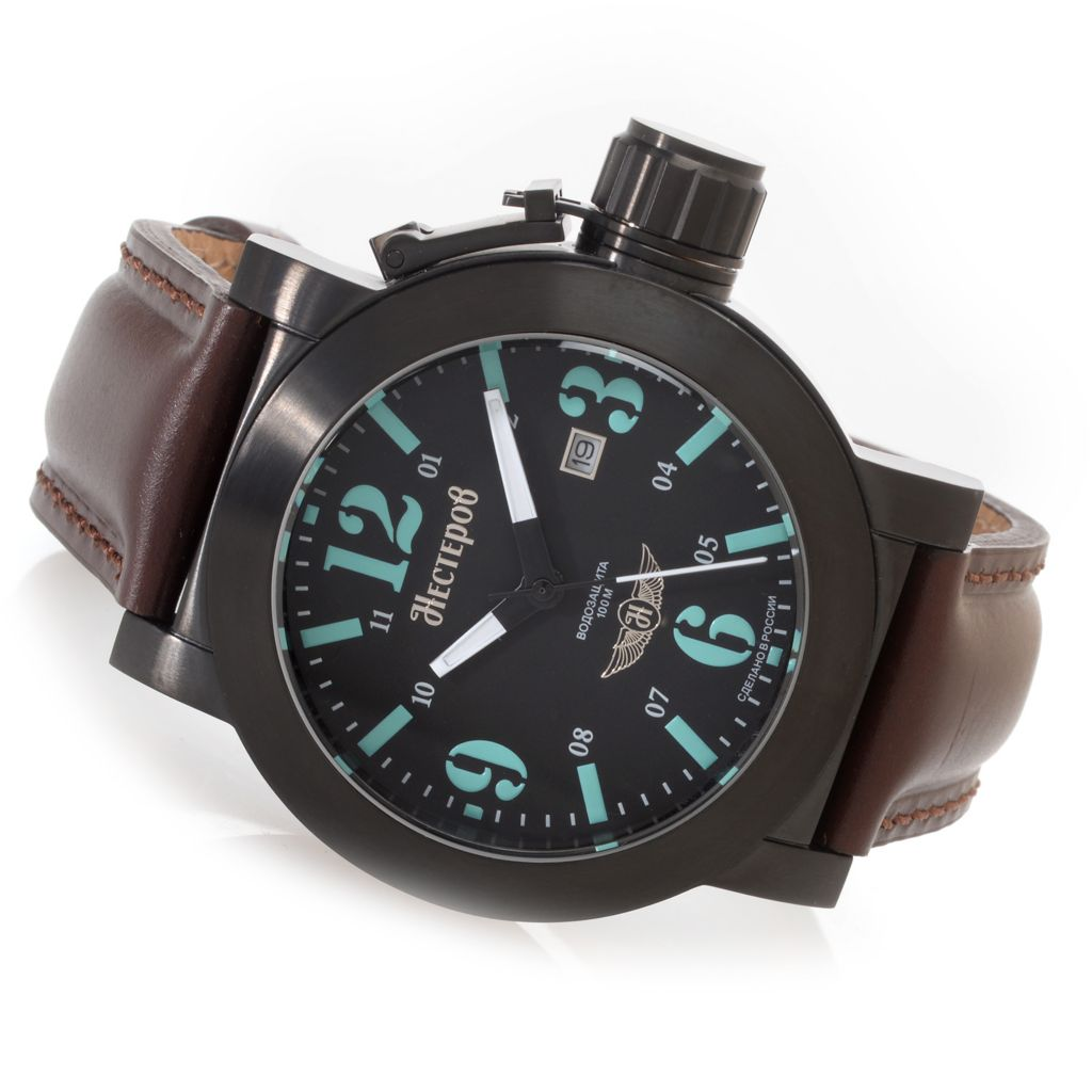 627-555 - Nesterov Russian 46mm Yak-1 Fighter Limited Edition Quartz Leather Strap Watch