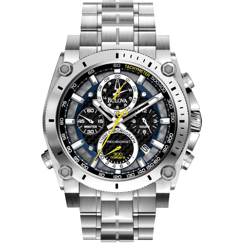 627-563 - Bulova 46.5mm Precisionist Quartz Chronograph Stainless Steel Bracelet Watch