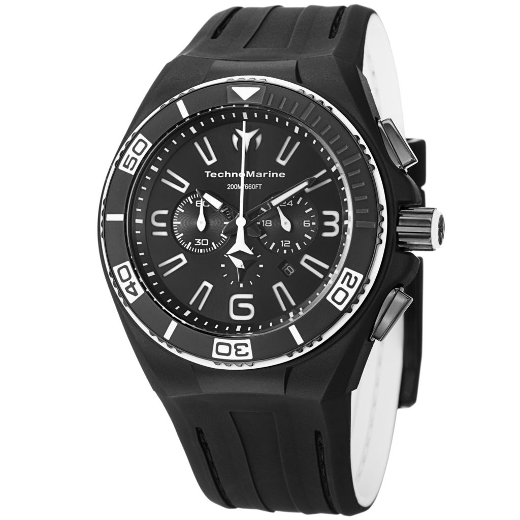 627-607 - TechnoMarine 45mm Cruise NightVision II Quartz Chronograph Stainless Steel Rubber Strap Watch
