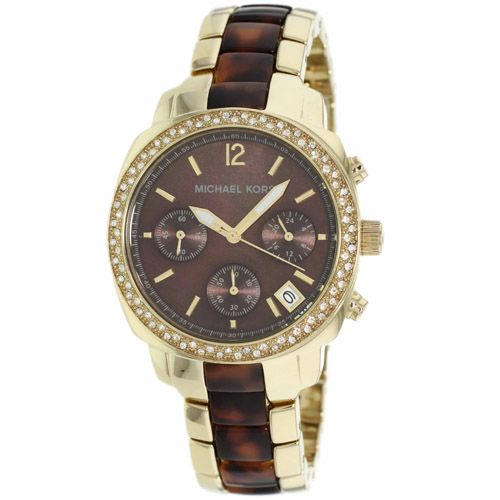 627-636 - Michael Kors Women's Glitz Quartz Chronograph Stainless Steel Bracelet Watch