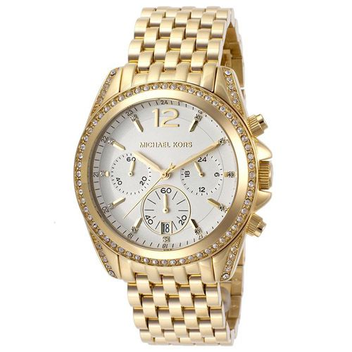 627-640 - Michael Kors Women's Pressley Quartz Chronograph Crystal Accented Bracelet Watch