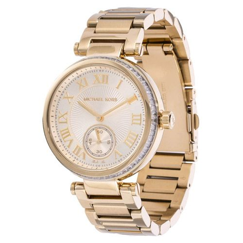 627-641 - Michael Kors Women's Skylar Quartz Crystal Bezel Stainless Steel Bracelet Watch
