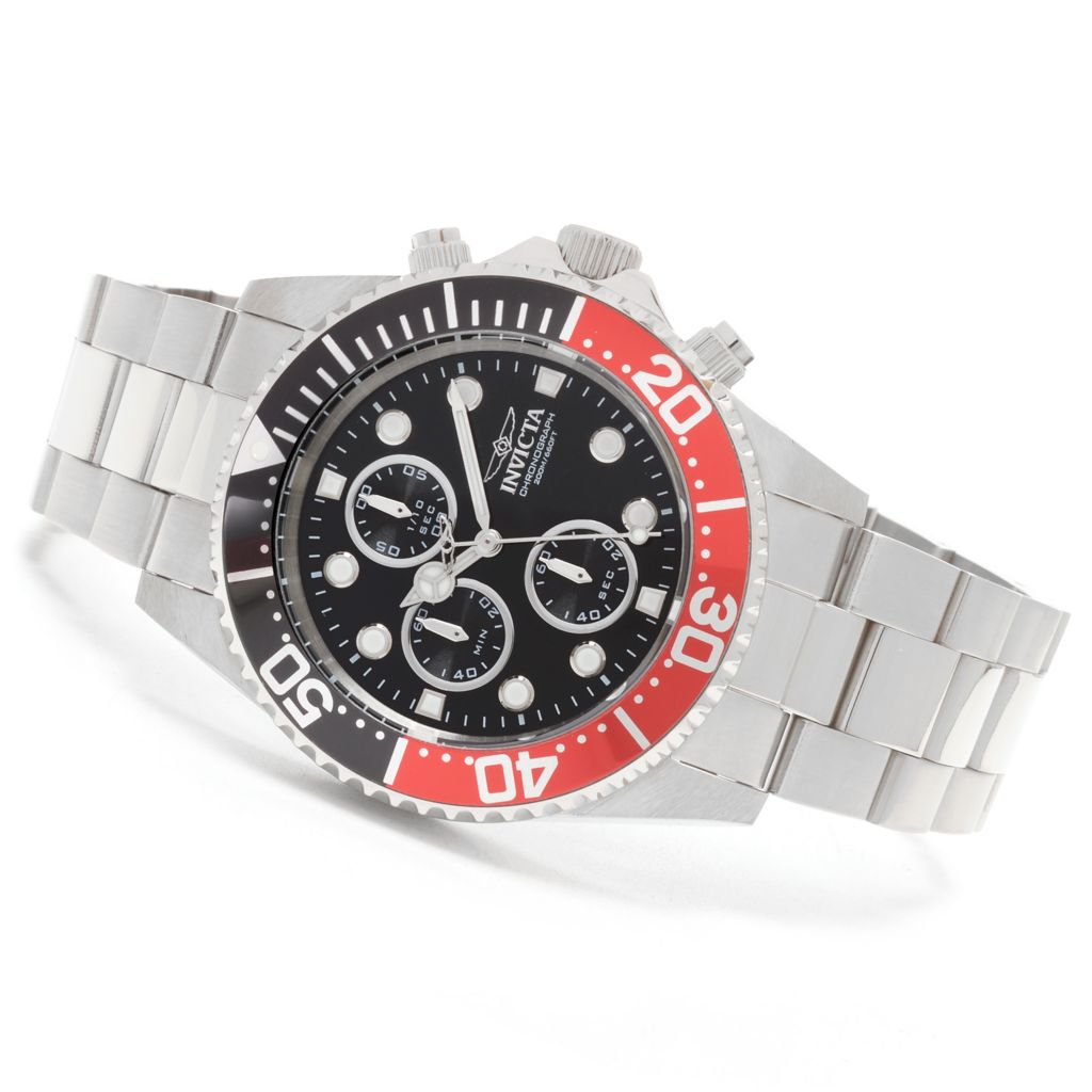 627-649 - Invicta 43mm Pro Diver Quartz Chronograph Stainless Steel Bracelet Watch w/ One-Slot Dive Case