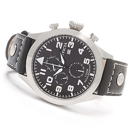 627-653 - Invicta 45mm I Force Quartz Stainless Steel Leather Strap Watch w/ Three-Slot Dive Case