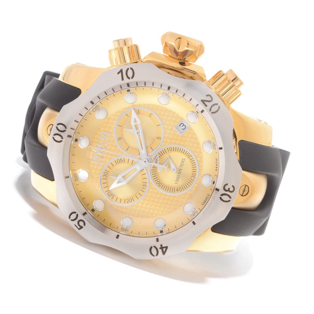 627-656 - Invicta Reserve 52mm Venom Swiss Chronograph Polyurethane Strap Watch w/ One-Slot Dive Case
