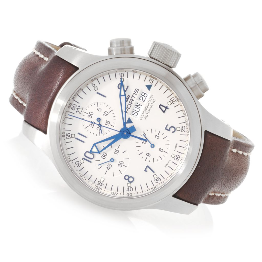 627-660 - Fortis 42mm B-42 Pilot Professional Swiss Valjoux Automatic Leather Strap Watch