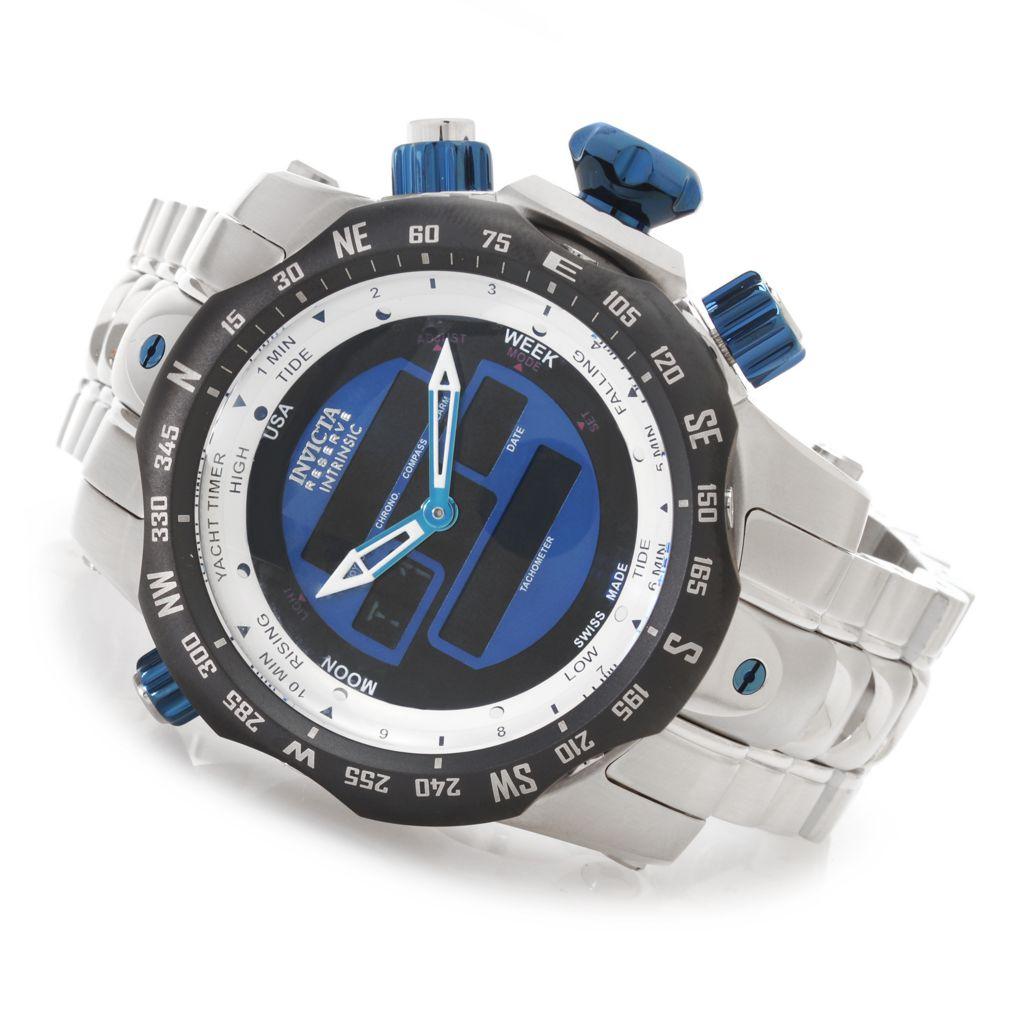 627-667 - Invicta Reserve 52mm Venom Quartz Intrinsic Analog & Digital Bracelet Watch w/ Three-Slot Dive Case