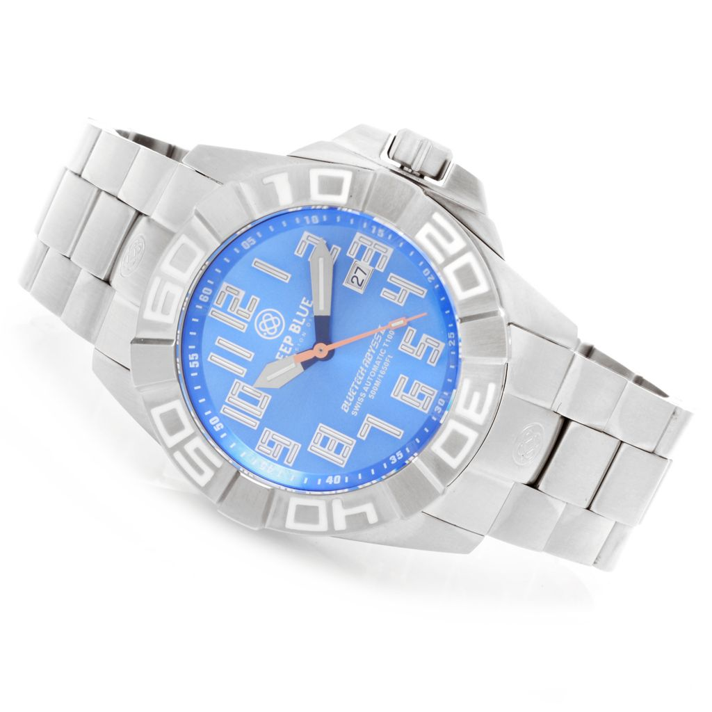 627-668 - Deep Blue 48mm Bluetech Abyss II T-100 Swiss Made Automatic Stainless Steel Bracelet Watch
