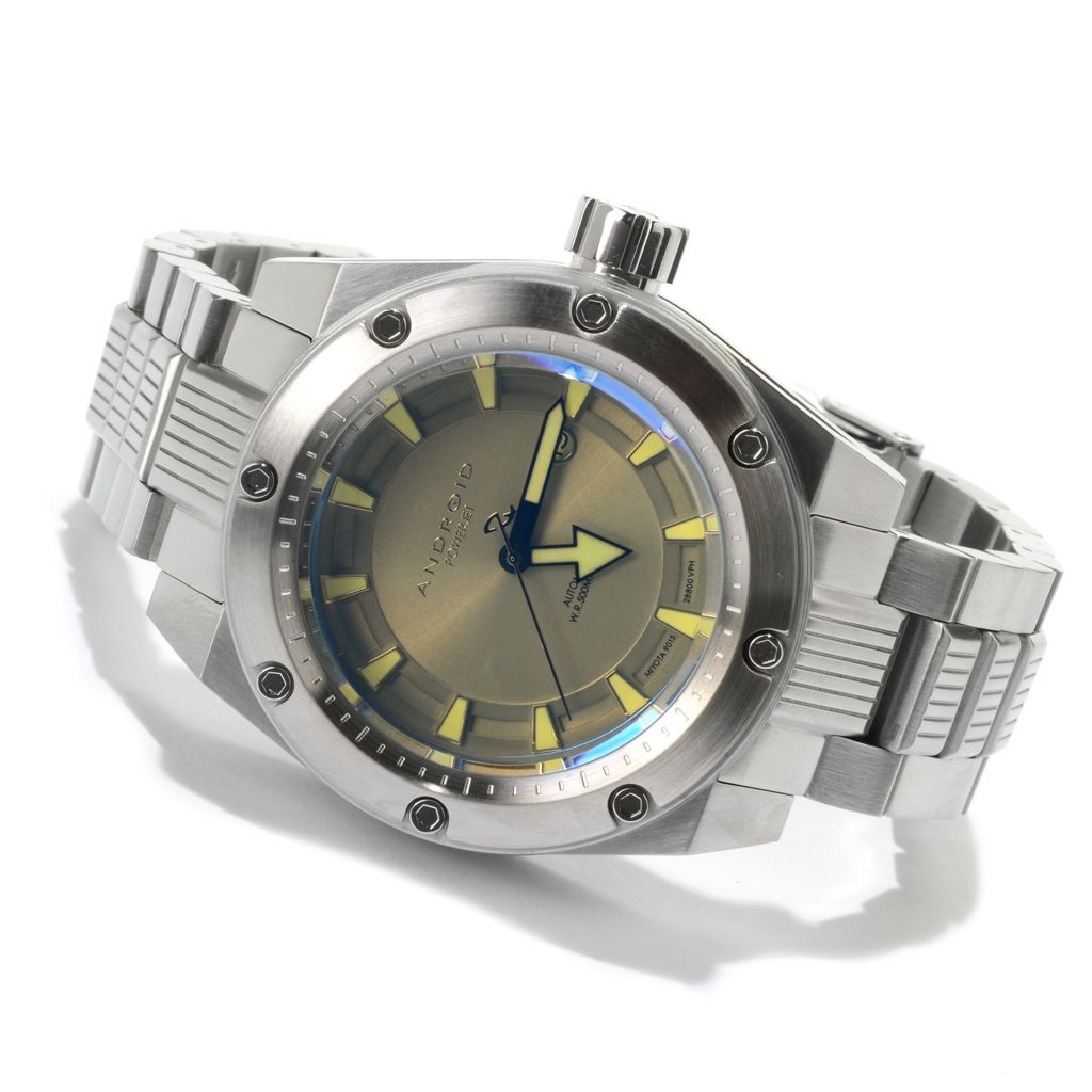 627-671 - Android Powerjet Automatic Iridescent Crystal Stainless Steel Bracelet Watch w/ Android Coffee Mug