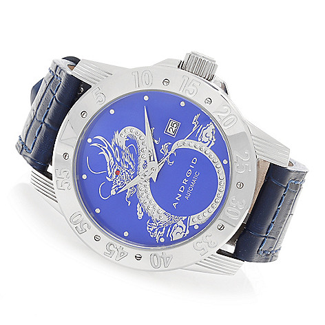 627-673 - Android 49mm Flying Dragon Automatic Leather Strap Watch Made w/ Swarovski® Elements
