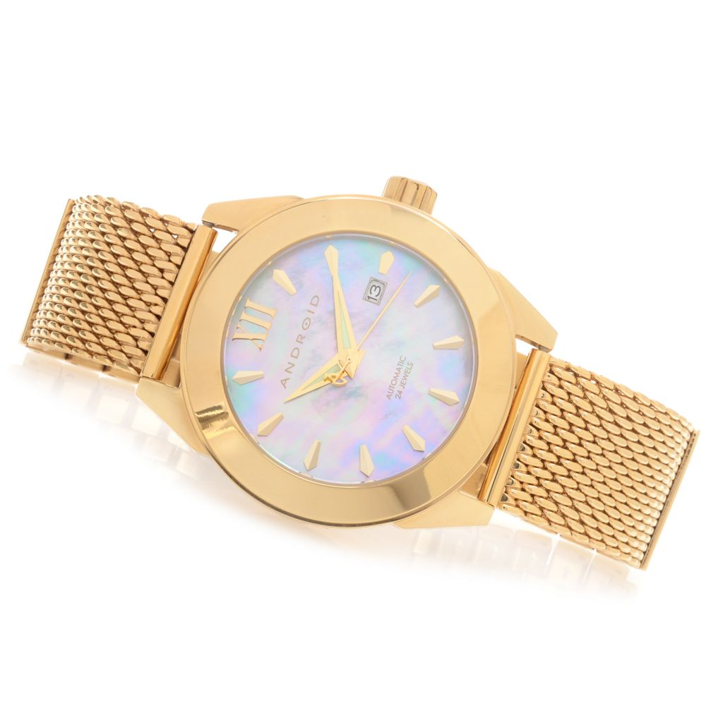 627-674 - Android 49mm Vertigo Automatic Mother-of-Pearl Mesh & Link Stainless Steel Bracelet Watch