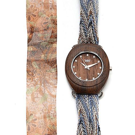 627-677 - WeWOOD Women's ''Belle'' Quartz Wooden Interchangeable Fabric Scarf Wrap Watch