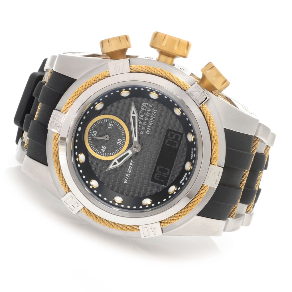 627-681 - Invicta Reserve 52mm Bolt Zeus Intrinsic Quartz Analog & Digital Polyurethane Strap Watch