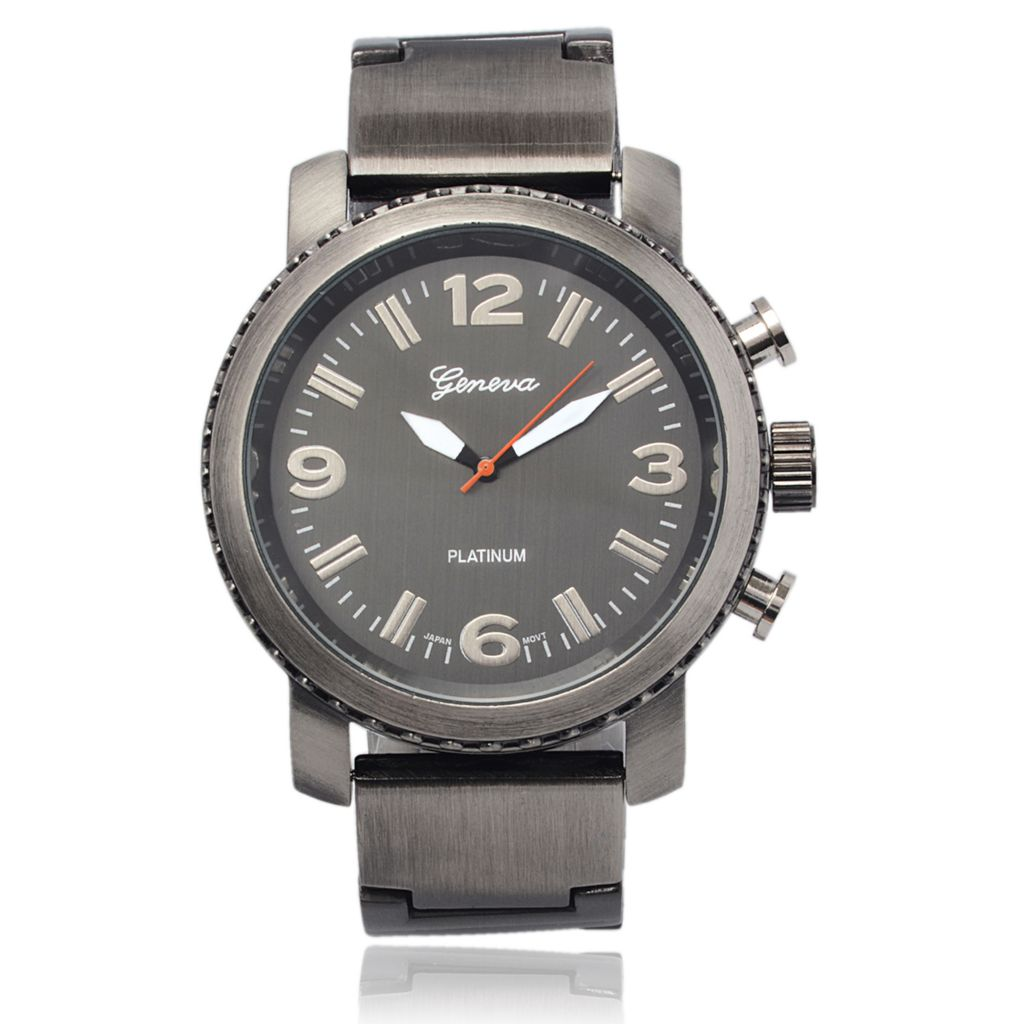 627-691 - Geneva Platinum 50mm Quartz Three-Hand Satin-Finish Stainless Steel Bracelet Watch